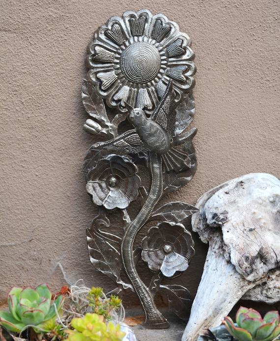"Spring Sunflower With Bird, Haiti Metal Wall Art 5"" X 14.5"""
