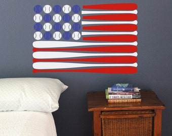 Baseball Bat American Flag Wall Decal America 4th of July Red White Blue Patriotic