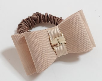 Handmade Bow Golden Buckle Hair Ties Ponytail Holder Scrunchies Free Shipping Women Hair Accessory