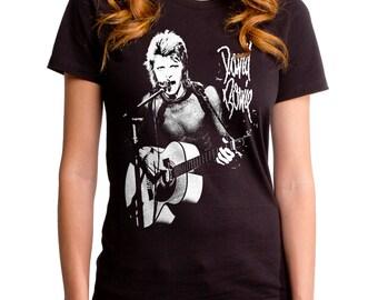 David Bowie New Era Rock (BWE0045-502BLK) Women's T-Shirt. bowie, david, ziggy stardust, reflect, vision, golden years, lets dance, 1970s.
