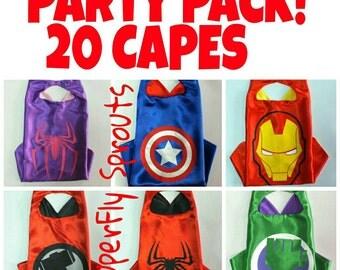 READY TO SHIP! Set of 20 Twenty Kids Boys Girls Superhero Capes - Ironman, Spiderman, Captain America, Hulk, Avengers, More!
