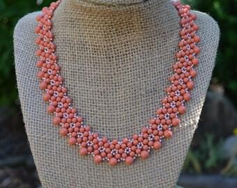 Peach Swarovski Pearl Beaded Necklace