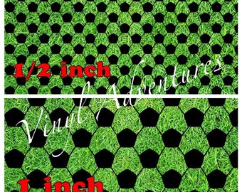 """Soccer Sport on Green Grass, Soccer Pattern Vinyl, Outdoor Permanent Adhesive, 12""""x12"""", Oracal 651"""
