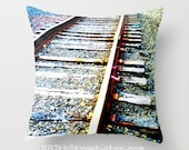 """TRAIN TRACK 16x16"""" Pillow Cover. Photo Art, TMCdesigns. Adventure. Wanderlust, Journey. Home Decor. Industrial, Rustic. Wood, Iron, Stone."""
