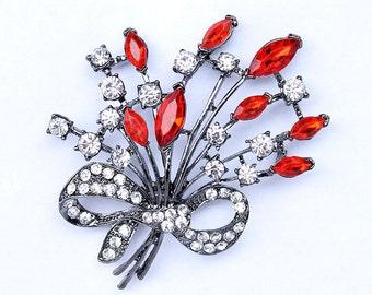 Red Black Brooch Bouquet Rhinestone Brooches Bridal Bridesmaid Dress Broach Sash Clutch Cake Decor DIY Jewelry Broaches Red Black Wedding