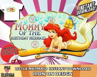 Disney Little Mermaid, Iron On, instant download, Disney, Princess, invite, t-shirt, Birthday, Decal,Little Mermaid, Princess Ariel, Card