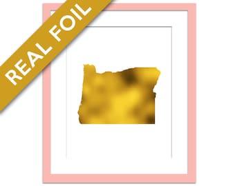 Oregon State Print Gold Foil Print Oregon Map Art Print Travel Poster