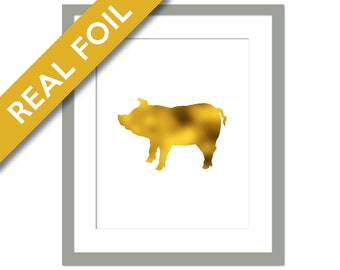 Pig Art Print - Gold Foil Print - Animal Print - Childrens Art - Farm Animal Art Print Decor - Nature Poster - Pig Poster - Gold Nursery Art
