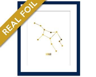 Virgo Art Print - Gold Foil Print - Astrology Poster - Zodiac Stars Constellation - Gold Foil Virgo Poster - Virgo Horoscope Birthday Gift