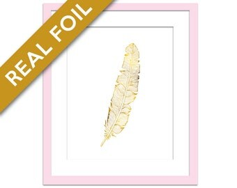 Feather Art Print - Real Gold Foil Print - Gold Feather Poster - Feather Art - Gold Nature Art Print - Gold Nature Poster - Foil Feather Art