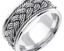 Titanium with Sterling Silver 7 Strands Hand Braided Wedding Ring Band, For His and Her