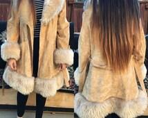 Vintage 1970's Crushed Velvet Faux Fur Trim Penny Lane Coat