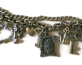 Brass Heart n Key Charm Bracelet/Key to my Heart Bracelet