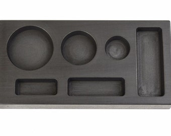 Gold Graphite Ingot Mold 6 in One 1/4 1/2 1 Troy oz Multi-Cavity Combo Mold For Melting Casting Refining Scrap Precious Metal GMLD-0071