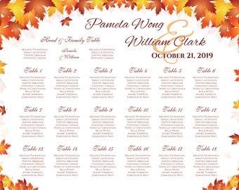 Printable Wedding Seating Chart | PDF file | Red Orange Fall Leaves - EMAIL Delivery
