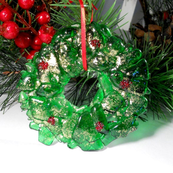 Recycled Bottle Christmas Ornament, Fused Glass Green Wreath, 3 Inch