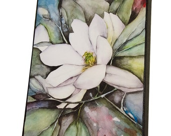 Magnolia Watercolor Painting Wall Art Print on Canvas 8x10, White Flower Ready to Hang