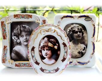 Vintage Limoges Picture Frames Porcelain Vintge Photo Frames Floral Decor French Vintage Cottage Style Shabby Chic Easel Back For Her
