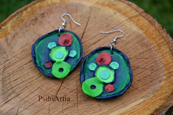 Abstract earrings Abstract circles earrings Handmade abstract earrings Abstract jewelry Abstract polymer clay jewelry Abstract circles