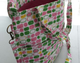 Spring purse..fold over cross body bag..pastel print trendy bag..accessory  for summer..pink purse..