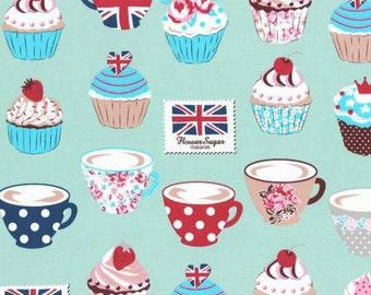 SALE Flower Sugar Maison Cotton Oxford Fabric 2015 Lecien 40565L-60 Mint Teacups and Cupcakes BTHY