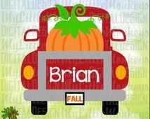 Vintage Truck Back Pumpkin Design Digital Clipart Instant Download Full Color 300 dpi Jpeg, Png, SVG EPS DXF