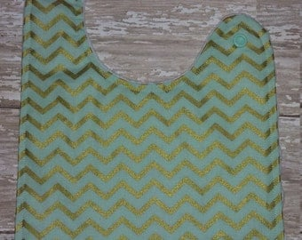 Baby Bib- Mint and Gold Chevron Baby Bib with Minky Backing, Personalized Baby Bib, Minky Baby Bib, Girl Baby Bib, Boy Baby Bib, Chevron Bib