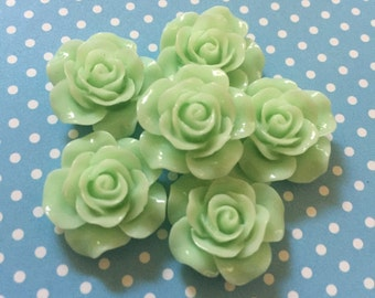 6 pc Green Rose Cabochons!