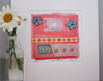 Rose Gold Day Dreams Mixed Media Bespoke Art Print