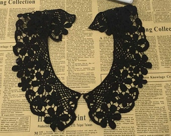 Beautiful Black cotton Embroidered Collar Appliques Floral Tulle Collar 1 pair YL051