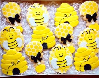 Baby Bee Shower Favor Cookies