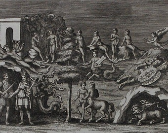 1782 Pietro Santi Bartoli Engraving Bestiary Monsters Hydra Cererbrus Harpy Hekatonkhair. Antique Copper-plate Engraving Virgiliani Codicis.