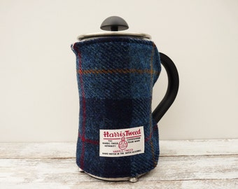 Tartan Cafetiere Cover, Coffee Pot Cosy, Harris Tweed, French Press Blanket, Handmade Scottish Gift, Plaid Gift, Navy Blue, New Home Gift