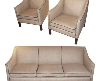 1940s Danish Sofa Set Comprised of a Sofa and Two Club Chairs
