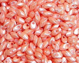Miyuki, Long Magatama, Opaque Salmon, 4x7mm, Glass Seed Bead, (LMA-429), 8.3 grams