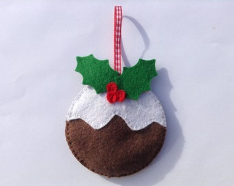 Felt Christmas Pudding Hanging Decoration