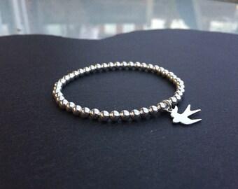 Silver Stretch Bracelet with Swallow Bird Charm
