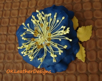 Blue Leather Flower Hair Clip/Brooch with the Yellow Leaves