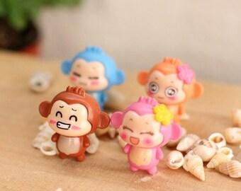 4 pcs Decoden /Charms Monkey / Animal / Figurine / Miniature/Mininature Figurine