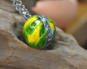 Ceramic sphere necklace green  necklace  handmade pendant  one of a kind zolanna  gift for her ceramic soldered necklace gypsy