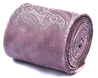 pink paisley wedding tie with signature floral design to the rear by Frederick Thomas FT726
