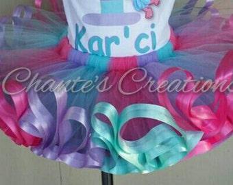 Pink, lavender and aqua flip flop ribbon trimmed tutu ONLY