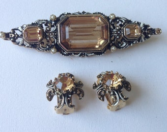 Vintage  Austro-Hungarian Style Brooch and Clip on Earrings Set