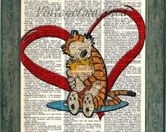 Calvin and Hobbes art print hugging with heart  on 8x10 upcycled vintage dictionary page