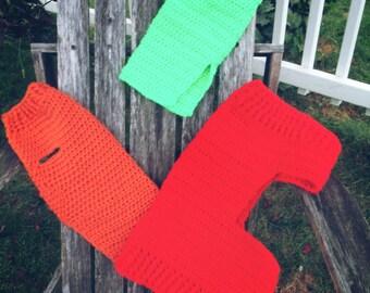 Crochet dog sweaters.