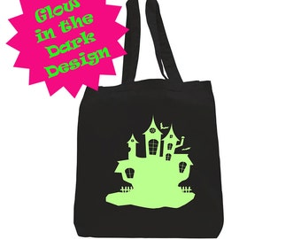 Trick or Treat Bag - Halloween Tote - Trunk or Treat Sack - Halloween Candy Loot Bag - Cotton Tote - Glow in the Dark -Haunted House-JHT0008