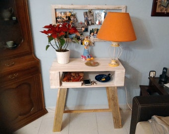 """Table pickled in white with legs in natural finish """"Bureau"""""""