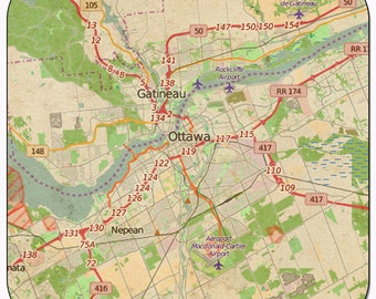 Ottawa 2 Vintage Map Coasters