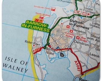 Barrow-in Furness Map Coasters