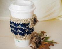Coffee Cup Cozy, Blue Tea Cozy, Cup Cozy, Coffee Cover, Tea Cup Sleeve, Coffee Sleeve, Tea Lover Gift, Coffee Cup Sleeve